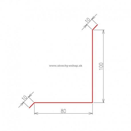 Oplechovanie k stene vrchné Pozink farebný r.š. 200 mm