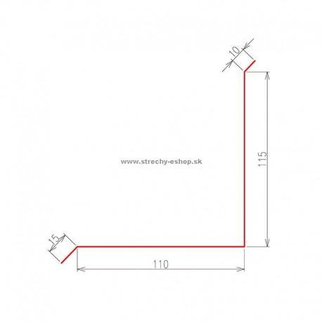 Oplechovanie k stene vrchné Pozink farebný r.š. 250 mm