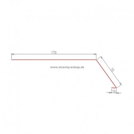 Odkvapové lemovanie do žľabu Pozink r.š. 250 mm
