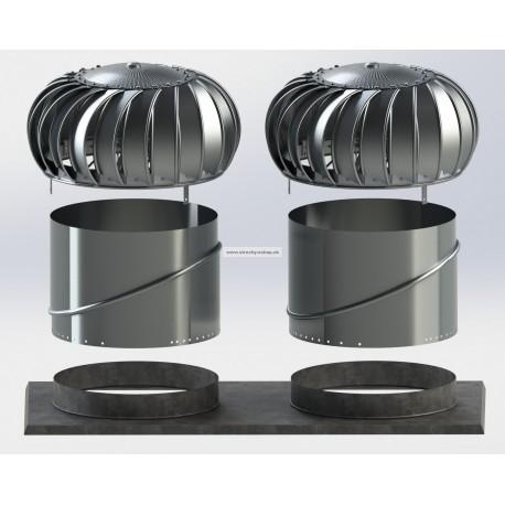Ventilačná turbína LOMANCO 2xBIB 14 SET pre ploché strechy