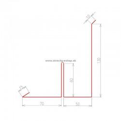 Oplechovanie k stene bočné s rozrážačom vody Pozink r.š. 395 mm