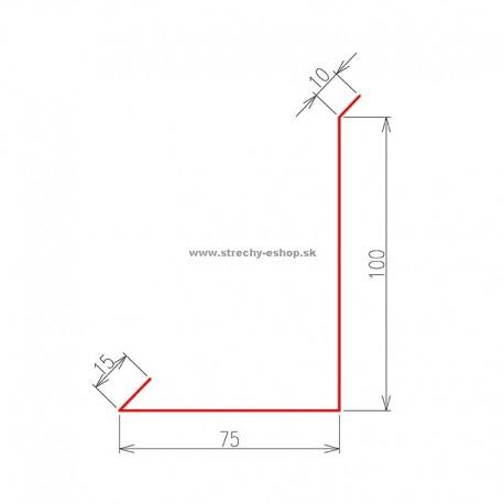 Oplechovanie k stene bočné Pozink farebný r.š. 200 mm