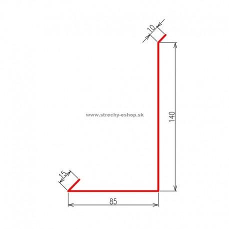 Oplechovanie k stene bočné Pozink farebný r.š. 250 mm