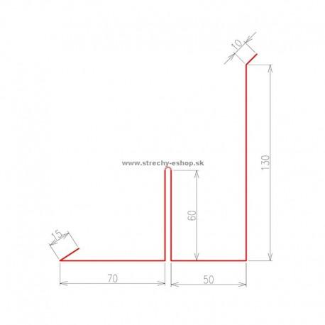 Oplechovanie k stene bočné s rozrážačom vody Pozink farebný r.š. 395 mm