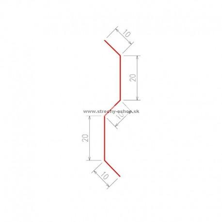 Komínová lišta Pozink farebný r.š. 70 mm